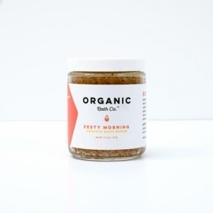 Picture of a jar which contains Organic Body Scrub.