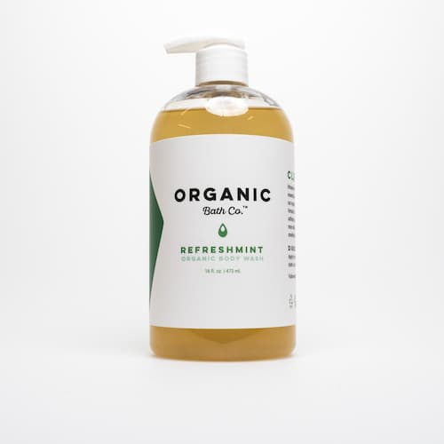 Bottle with liquid and Organic Body Wash RefreshMINT