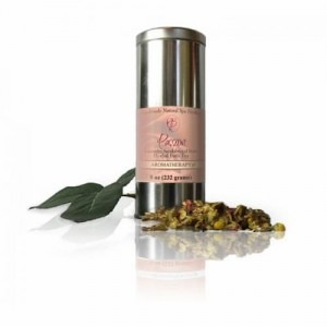 Picture of a metallic bottle that contains the Passion Herbal Bath Tea