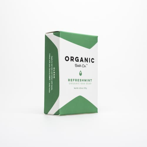 Green and white box that contains the RefreshMint Bar Soap