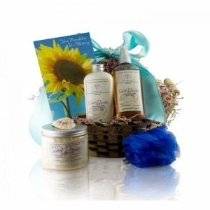 Picture of the beautiful Friendship Vanilla Lavender Gift Basket in a white background.