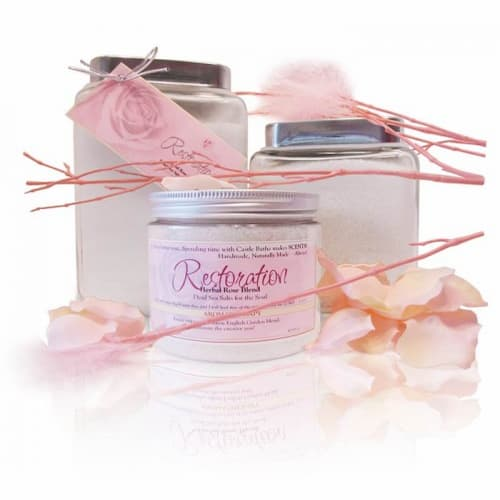 Jars with Restoration English Rose Dead Sea Salts and pethals