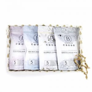 Picture of the Holiday Bath Soak Set Four Pack in a white background.