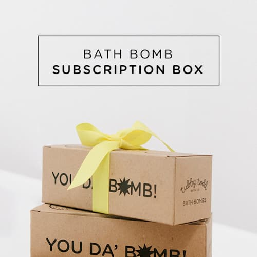 The boxes that you'll receive with the Monthly Bath Bomb Subscription