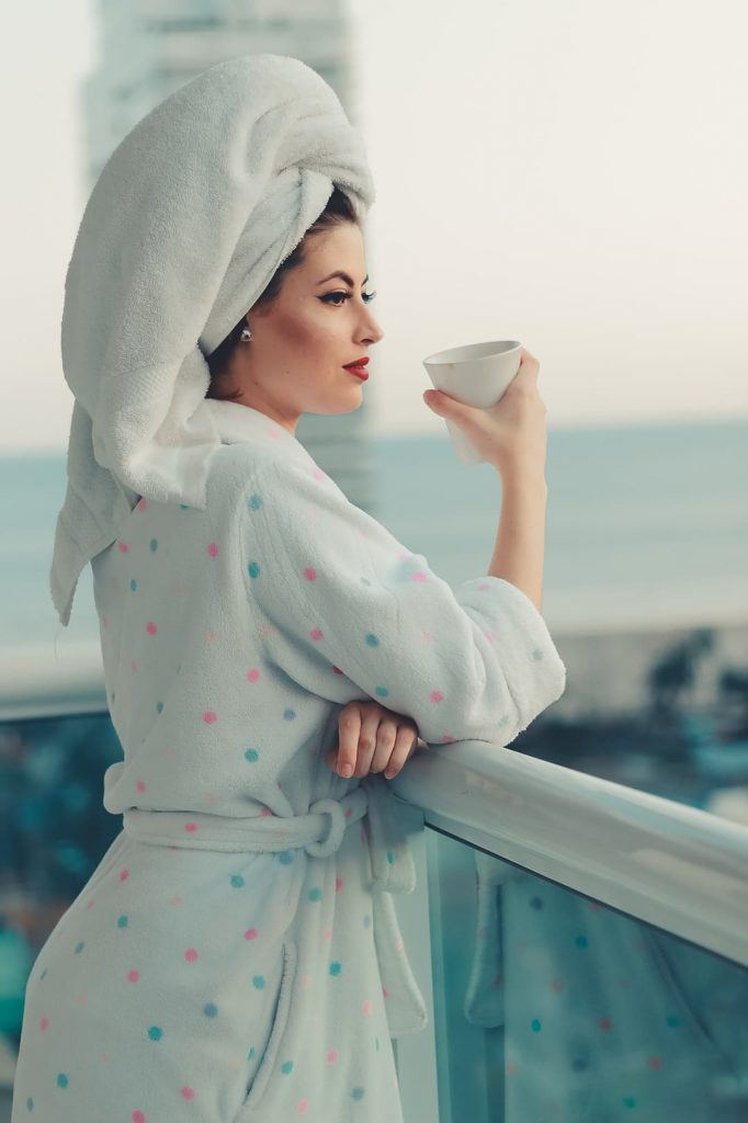 relaxed woman in a bathrobe