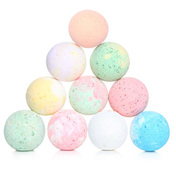 Image of shower bombs stacked into a triangle