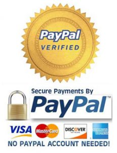 Graphic of gold star saying Paypal verified. Secure Payments by Paypal. Visa, MasterCard, Discover, AMEX