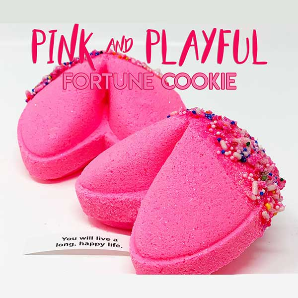 Pink and playful fortune cookie bath bomb